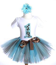 Chocolate & Aqua Girls Birthday Tutu Outfit