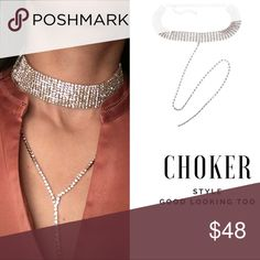 Rhinestone Choker Necklace Choker #chic #fashion #wardrobestylist #wardrobe #stylist #style #beauty #makeup #lipsticks #influencers #influencer #influenster #necklace #rhinestones #tvhostess #expo #shop #shoppingonline #crystals #blog #loveshopping #boutiqueonline #beauty 📲📲📲 http://www.goodlookingtoo.com Jewelry Necklaces