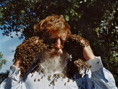 Les with Honeybees, New Mexico 2011, Holly Linton.
