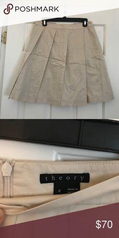 Theory Pleated Skirt Size 4 Like new. Worn once. Lightweight khaki Theory Skirts Midi