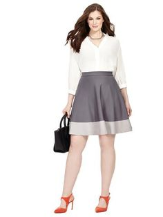 Plus Size JETE Shades Of Grey Colorblock Skater Skirt