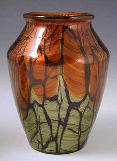 Irridescent glass vase in Titania pattern