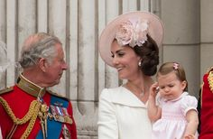 Prince Charles Prince of Wales with Catherine Duchess of Cambridge and Princess Charlotte of Cambridge during the Trooping the Colour this year...