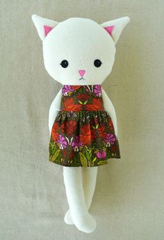 Fabric Doll Rag Doll Cat Doll in Floral Dress by rovingovine