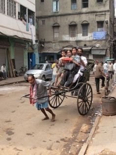 KOLKATA, INDIA - Rickshaw - The cheaper and simplest public transportation which give poor people work in Kolkata.