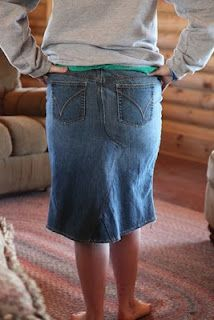 Jeans to Skirt Tutorial -I did this once without a tutorial, but this looks so much easier.