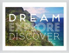Dream Explore Discover Framed Print, White, Contemporary, Cream, White, Single piece, 24 x 36 inches, White