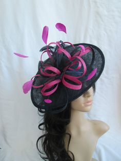 Navy Blue & Pink Fascinator.. Sinamay by SpecialDayfascinator          £44.99 click here to buy it now