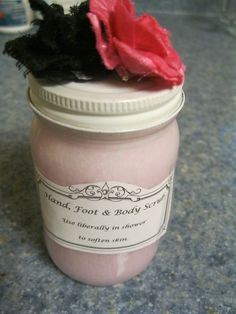 """Homemade Body Scrub : Two Ingredient Recipe. Just sugar filled to top of jar + liquid soap of choice. (Try a """"masculine"""" scent for a """"manly"""" version.)"""