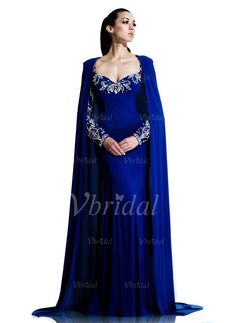 Evening Dresses - $181.22 - Sheath/Column Sweetheart Sweep Train Chiffon Lace Evening Dress With Beading (0175056916)