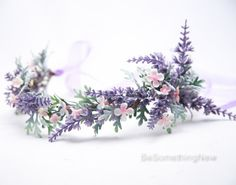 Lavender Wildflower Flower Crown Boho Wedding Floral Headpiece, Wedding Hair Accessory Lavender Flower Halo