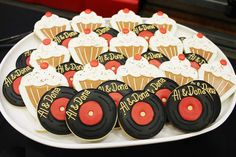 CrowningDetails's Birthday / Sock hop - Al & Dona's Anniversary Sock Hop at Catch My Party Elvis Birthday Party, Sweet 16 Birthday, 50th Birthday Party, Retro Birthday, Anniversary Parties, 50th Anniversary, Parents Anniversary, Music Cookies, 50s Theme Parties
