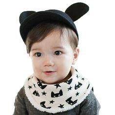 >> Click to Buy << Button Style Baby Boy Bibs Plus Velvet Cartoon Cat Baby Animal Bibs Waterproof Star Cotton Scarf Bibs Burp Cloths Warm Moms Care #Affiliate