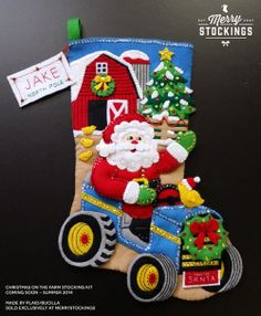 Christmas on the Farm Felt Stocking Kit made by Bucilla: Super cute and fun kit perfect for any new member to the family. Tractor Santa would look great on your mantel. Felt Stocking Kit, Christmas Stocking Kits, Felt Christmas Stockings, Santa Stocking, Stocking Tree, Christmas Farm, Christmas Sewing, Christmas Crafts, Christmas Decorations
