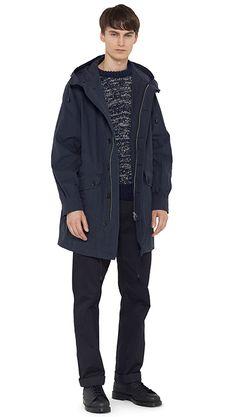 AUTUMN WINTER 14 - Navy cotton parka (MHL), navy Donegal wool jumper (MHL), indigo cotton twill trouser (MHL), black leather boot (MHL)