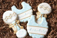 Bib and Rattle Cookies, It's A Boy Decorated Cookies, Baby Bib Cookies, Polka Dot Cookies, Baby Shower Cookies on Etsy, $39.00