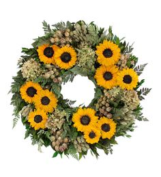 Sunflower Fields Wreath Fl Wreaths Naturally Preserved Sunflowers Leaves Hydrangea And More