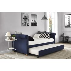 DHP Sophia Navy Linen Upholstered Daybed and Trundle | Overstock.com Shopping - The Best Deals on Beds