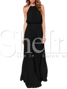 Black Sleeveless Halter Pleated Maxi Dress 27.99