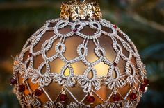 Lace Beaded Christmas Ornament Needle Tatting by RoundsandRoses, $25.00