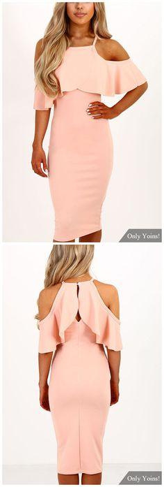 Pink Cold Shoulder Tiered Dress https://twitter.com/ShoesEgminfmn/status/895096133382356992