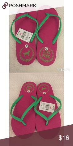 501240d4c87 VS PINK Flip Flops Dark Pink  amp  Green New with Tags! PINK Victoria s  Secret