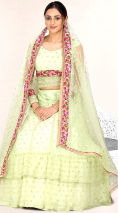 Light Green Net Lehenga Choli