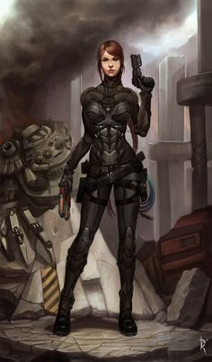 Look! A full suit of body armor on a woman! No bare stomach or thighs, and a full support bra, its amazing!