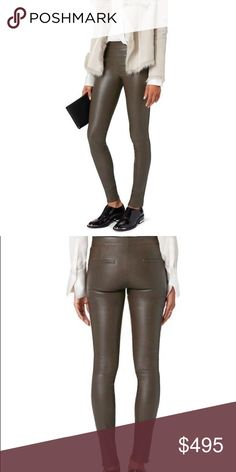 Helmut Lang leather pants Helmut Lang stretch leather leggings in Marsh Helmut Lang Pants Leggings