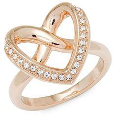 Swarovski Crystal Heart Ring ($50) ❤ liked on Polyvore featuring jewelry, rings, swarovski crystal rings, swarovski crystal jewellery, swarovski jewellery, heart jewellery and heart jewelry