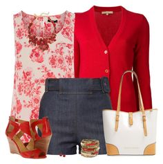 """""""Red Cardigan and Shorts"""" by daiscat ❤ liked on Polyvore"""