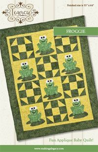 "Froggie Quilt Pattern. Finished size is 35"" x 44"". This adorable baby quilt using a variety of batiks. These cute frogs will be a great addition to any nursery. http://www.kayewood.com/item/Froggie/1353 $8.00"