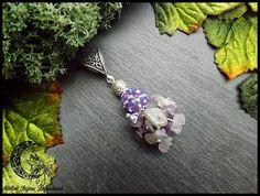 ★ Pendentif femme en Labradorite, Améthyste, perle shamballa strass ° Reflet de Yâna ° : Pendentif par atelier-bijoux-legendaires