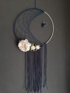 Dreamcatcher crescent moon with flowers and Lapislazuli Dreamcatchers, Etsy Seller, Moon, Unique, Creative, Flowers, Handmade, Painting, The Moon