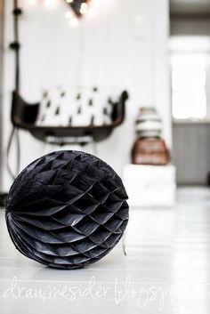 black honeycomb paper ball decoration