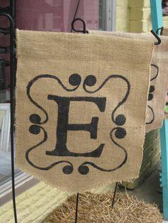 Monogrammed burlap garden flag by Burlapulous on Etsy, $18.00