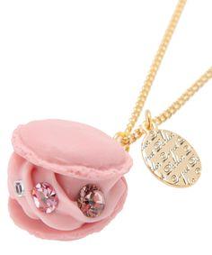 Creamy Strawberry Macaron Necklace