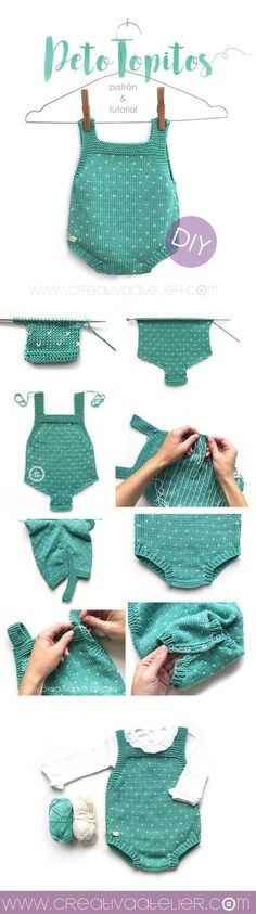 Baby Knitting Patterns Baby knitted bib 'Topitos' – Pattern and DIY tutorial with two needles Baby Knitting Patterns, Knitting For Kids, Baby Patterns, Knitting Projects, Crochet Patterns, Free Knitting, Knitting Needles, Knitted Baby Clothes, Knitted Romper