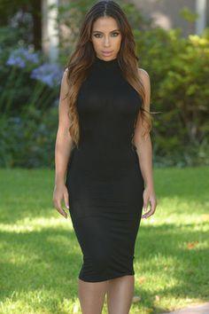 Black High Neck Lace up Bodycon Midi Dress Casual Dresses 64d1425005fc