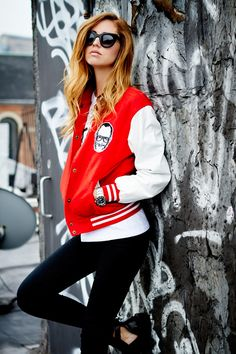Varsity jacket & great hair... also is that terry richardson's face?