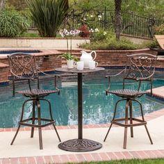 Christopher Knight Home Santa Maria Shiny Copper Cast Aluminum 3-piece Bistro Bar Set
