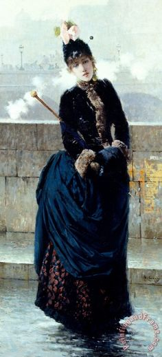 Vittorio Matteo Corcos Lady On Bridge In Paris painting - Lady On Bridge In Paris