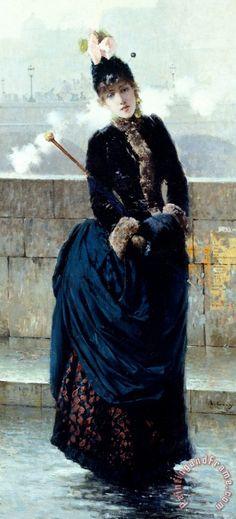 Lady On Bridge In Paris by Vittorio Matteo Corcos (Italian 1859-1933)