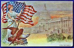 USA - PATRIOTIC, EAGLE SHIELD AND FLAG, SYMBOL USA