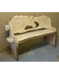 Carved Wooden Garden Bench