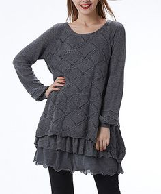 50d6cca7b26 Simply Couture Gray Pointelle Ruffle Layered Sweater - Plus