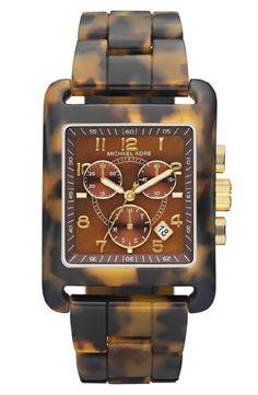 611780b78e92 Michael Kors Women's Leopard Print Square Quartz Day Date Chronograph Link  Bracelet MK5497: Watches: