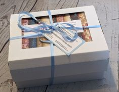 Christmas Yule Log, Liberty Fabric, White Box, Mystery Box, Unusual Gifts, Fat Quarters, Packing, Presents, Delicate