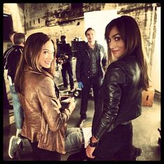 Kristin Kreuk & Nina Lisandrello looking lovely in leather on the set of Beauty and the Beast! #BatB #ThrowbackThursday #tbt