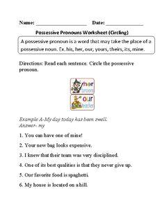 Circling Possessive Pronouns Worksheet Part 1